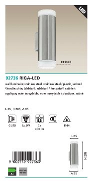 Venkovní nástěnné LED světlo 92736 Eglo