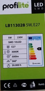 LED žárovka SMD10 LED,230V,5W